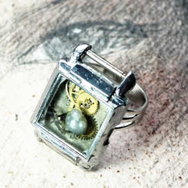 b9fx-040 Ajustable steampunk ring watch case +resin,gears  modern findings siver color