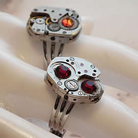 b9fzl-019 Steampunk ring mecanism+swarovski, modern findings gold or siver color