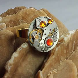 b9fz-020  Steampunk Ring Mechanismus+ orange Swarovski element