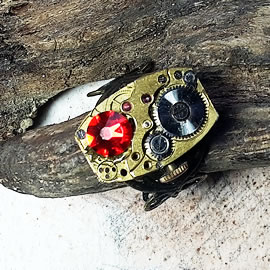 b9fzm-017 Steampunk Ring Mechanismus+ Rote Swarovski