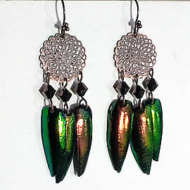 d6b3-020 Earrings, 2 beetlewings +Swarovski crystal beads +copper color stampings