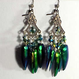 d6b5-016 Earrings, 10 beetlewings+ Swarovski biconic crystal beads+bronze coor stampings
