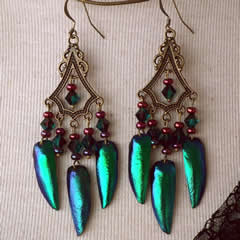 d6b3-007  Earrings, 6 beetlewings, Swarovski beads, bronze corour metal piece