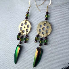 d6bf1-011 Earrings 2 beetlewings + big gody gears +swarovski biconic crystal beads