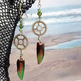 d6bf-037 Earrings  copperish beetlewings + gears- green swarovski beads