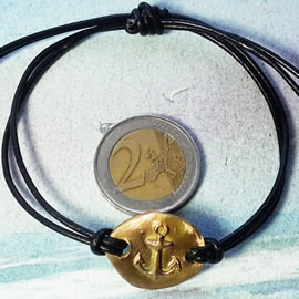 e722-003-  thin Bronze  and black leather sailor'sbracelet with an Anchor