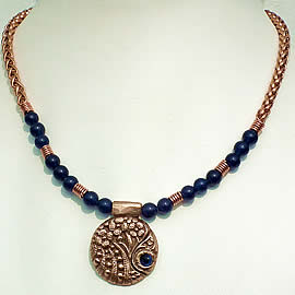 h22F-021 Art-deco Necklace  Bronze & blue corundum+blue agat beads