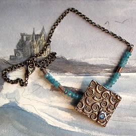 h22a1-027 Bronze necklace, art deco style+ light blue zirconia & aquamarina beads