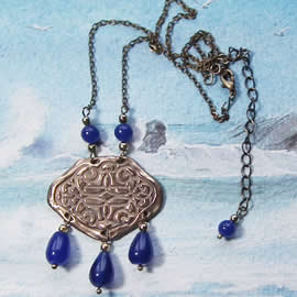 h22a-025 Necklace bronze & blue agat beads and drops