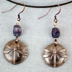 862V-005 Earrings : Art-nouveau style, bronze DRAGONFLY +Fluorite beads