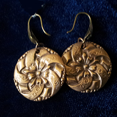 g62b-010 Round Bronze earrings in 19th century classical style