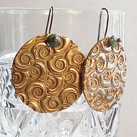 h62a1-014 Bronze Earrings & treated emerald beads or other stones