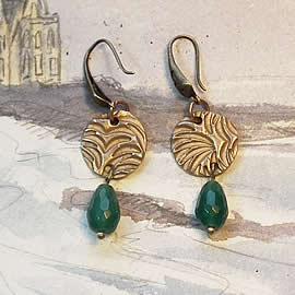 h62a3-002 Earrings made of bronze and  treated/enhanced emerald beads & drops