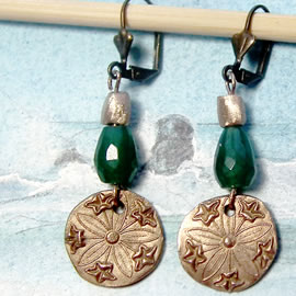 h62a-018  Victorian style Earrings in  bronze,  with  an treated emerald root drop  beads