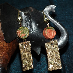 h62a1-022 Art Deco Earrings bronze+unakite flowers