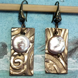 h62a5-015 Art-deco Earrings bronze+sweet water pearls, white bronze or copper possible