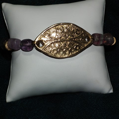 k72a-001 bracelet style antique,  en bronze couleur or et perle de fluorite