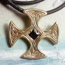 j22C-076 Bronze necklace/Celtic Templar Cross, bronze or copper+ square stone +black leat