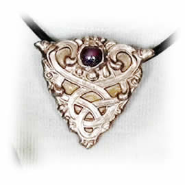 j22a1-078 necklace,celtic knot(bronze or copper)+1garnet (or ottr stone),leather  band