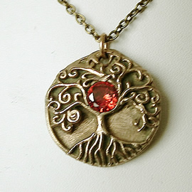 a42a1-037 Pendant Yggdrasil, the celtic tree of life,  a 6mm zirconia or a synt.corundum