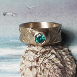 j92a-014 Unisex Celtic  Ring bronze  &aqua blaue zirconia  at your size  (4 days extra del
