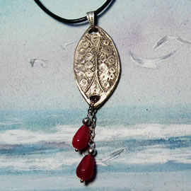 k41a6-001 Pendant  handmade in silver bronze + treated ruby dropts