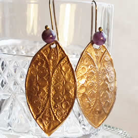 k62a-005 Goldy Bronze earrings, antic filigree style+ amethyst beads (or an other stone)