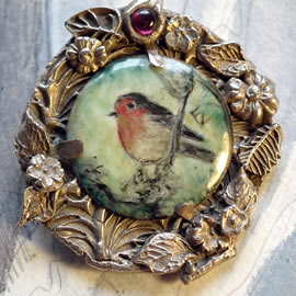 z-Sold 0f2p4-003 Miniature Bird enamel paint on enameled copper, bronze frame, garnet cab