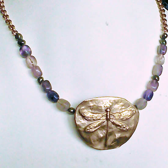 822V-021 Bronze necklace Dragonfly,fluorites and pyrites