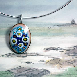 m24p1-020 Enamel necklaces,colorfull  oval with Murano millefiori, choice of  10