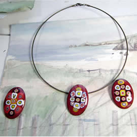 m36p1-027 Enamel oval broochs/necklaces with  Murano millefiori