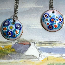 m46p1-019 choose 1 of 2 little round pendants: pale turquoise enamel & Murano millefiori