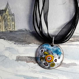 m46p1-029 little round pendant  white and turquoise enamel with Murano millefiori