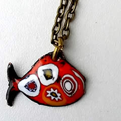 246p1-009 pendants    little enamel fish with  Murano  millefiori