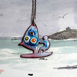 m46p1-014 enamel pendants :  choice of 3  Wind Surfers of different colours  with Murano m