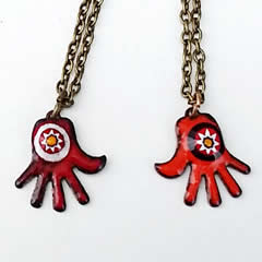 p46p1-013  pendants -2 Little red and  one pale yellow enamel hands with Murano millefiori