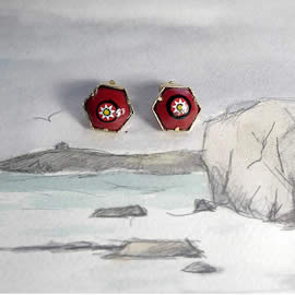 m65p1.028 Red enamel earrings/clips  with Murano millefiori order an other colour