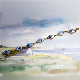 m75p1.026 Bracelet white and turquoise enamel,gilded metal and murano millefiori