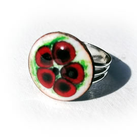 m95A0a-014 Romantic  round enamel ring+red flower