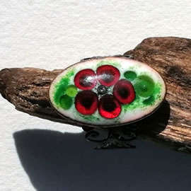 m95A0n-015 Romantic oval enamel ring+red flower