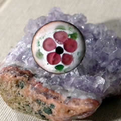 m95A_010 Romantic enamel ring+rosa flower