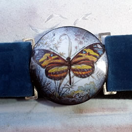 mb6B-018 Romantic belt +enamel buckle + a decal butterfly and ajustable velvet