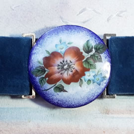 mb6B-0198 Romantic belt +enamel buckle + a vitreous flower decal & ajustable velvet