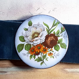 mb6B-010 Romantic belt +enamel buckle with decal flowers and ajustable velvet