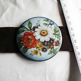 mb6B-007 Romantic belt +enamel buckle with decal flowers and ajustable velvet
