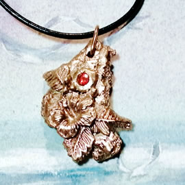 n42Az-16 Bronze pendant, meteorite- hibiscus flower; red Czirconia + black leather