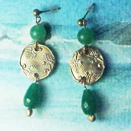 n62A-006 Earrings Bronze art-nouveau decor+treated Emerald drops ,green coloured agat