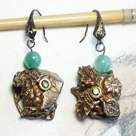 n62A-009 Earrings Bronze flowers,leaves and beads,cz zirconia,  aventurin beads