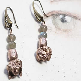 n62A-012 Earrings Bronze flowers,leaves and beads  with labradorit beads