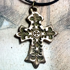 o42C-006 Gold/silver colour bronze gothic cross on a black leather strap(copper too )